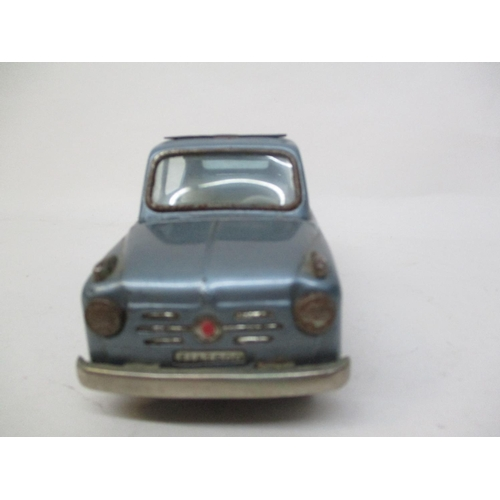 10 - A 1950s Bandai Japanese blue tinplate fiat 600, with canvas roof, 3