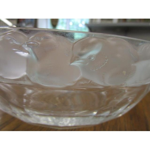 1 - A Rene Lalique design - a Lalique Mesanges pattern clear and frosted glass bowl decorated with a mou...