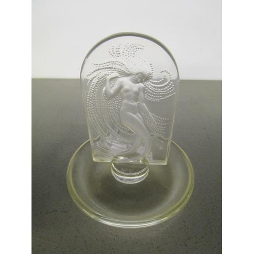 2 - A Lalique glass Naiade pin dish of shallow form with central tablet intaglio moulded with a mermaid ...