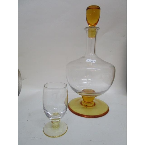 24 - Whitefriars Glass - a rare M80 pattern part set in flint and golden amber, comprising two decanters ...