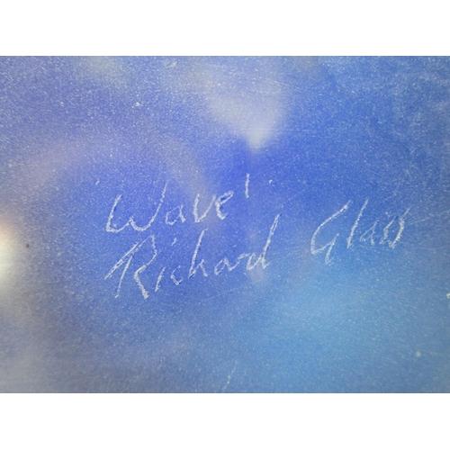 25 - Richard Glass - Fluid Glass, Devon artist, 'Wave' - a studio art glass sculpture, engraved, signed a...