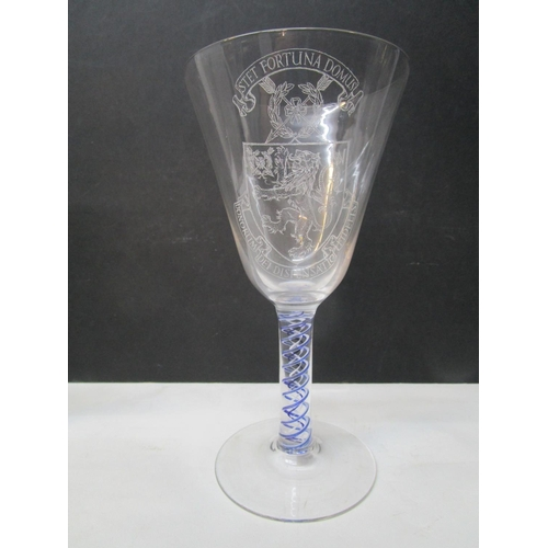 26 - William J Wilson for Whitefriars Glass - six diamond point engraved and colour twist commemorative g...