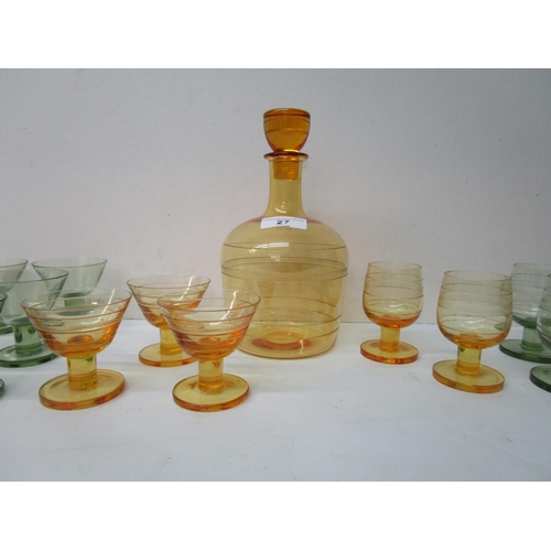 27 - William Wilson and Barnaby Powell for Whitefriars glass, an M62 golden amber coloured sherry decante...