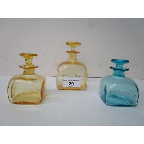 29 - Harry Powell for Whitefriars Glass - a square moulded perfume bottle with solid mushroom stopper in ...