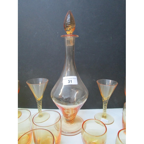 31 - Whitefriars glass - a quantity of golden amber table glassware to include drinking glasses of variou...