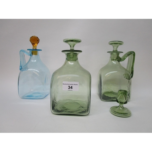 34 - Harry Powell designed for Whitefriars Glass, two square decanters with ribbed angular handles and fl...