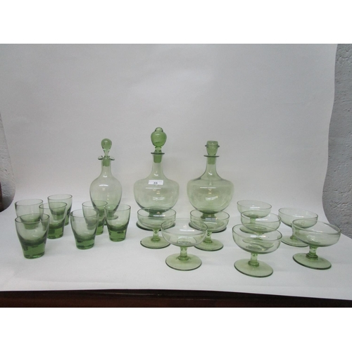35 - Barnaby Powell for Whitefriars Glass - sea green table glass to include a rare M67 decanter and orig...
