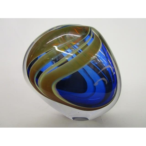 11 - Peter Layton - London Glassblowing Studios - a blue ground glass vase with ochre to amber coloured g...
