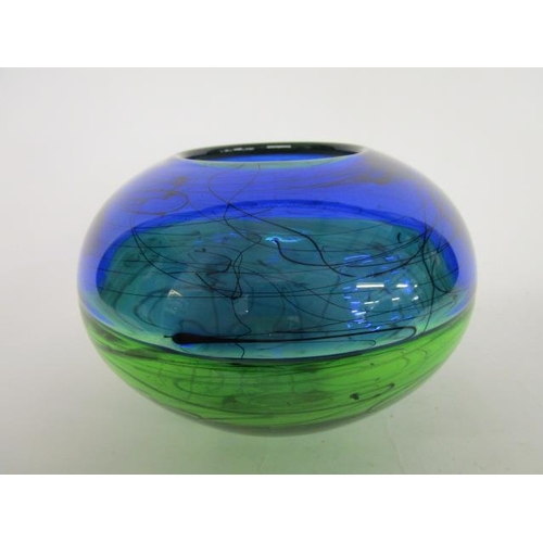 12 - A Stuart Ackroyd contemporary studio glass two-tone bowl, top half in blue, the bottom half in green...