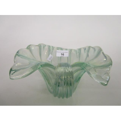 16 - Ercole Barovier for Barovier & Toso - a post war pale green iridescent clam shell bowl, probably fro...