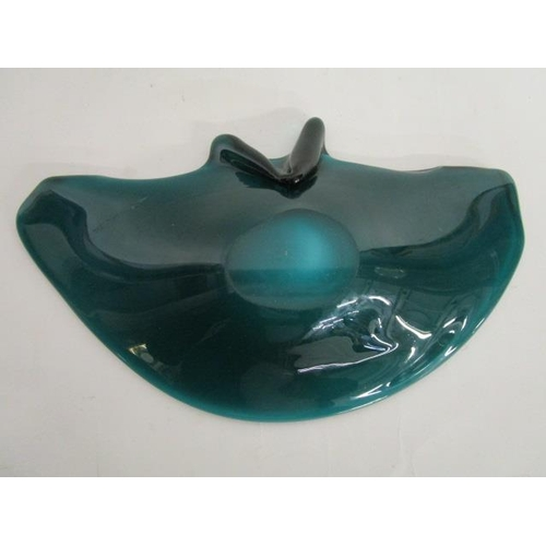 19 - Venini, Murano, Italy - a shell shaped glass dish in opal shading to pink glass with an iridescent f...