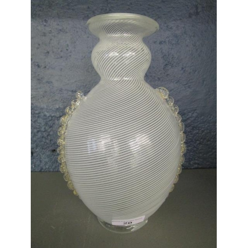 20 - An Italian white Mezza filigrana glass vase with two applied vertical pinched clear glass bands, an ...