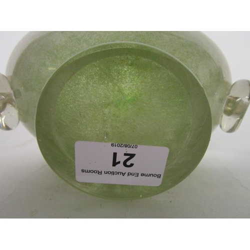 21 - Ercole Barovier for Ferro Toso Barovier - an oval green and white glass bowl, overlaid in crystal wi...