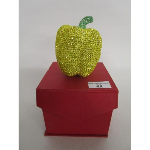 23 - Tresor Paris apple ornament decorated in yellow crystals, with a green crystal stalk, 4 1/8
