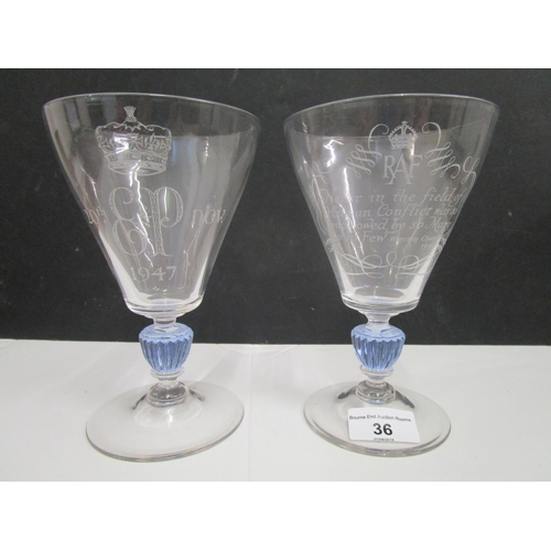 36 - William Wilson designed and engraved for Whitefriars Glass - two rare commemorative goblets, one eng...