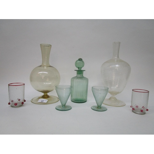 37 - A selection of early 20th century Venetian glass to include a yellow tinted carafe of globular form ...
