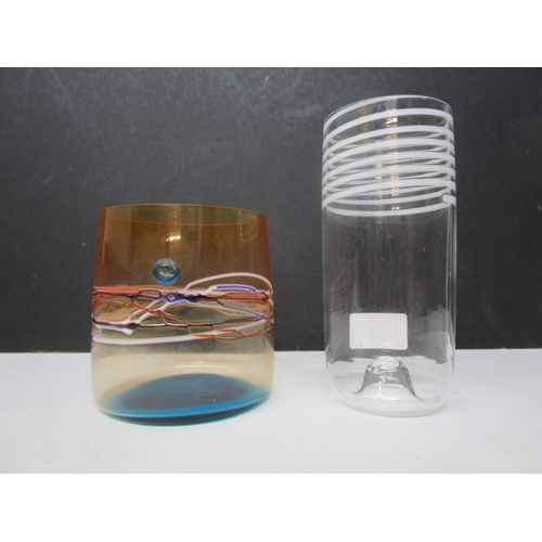 38 - Venetian glass - A Carlo Moretti clear glass tumbler vase with opaque white spiral thread to the top...