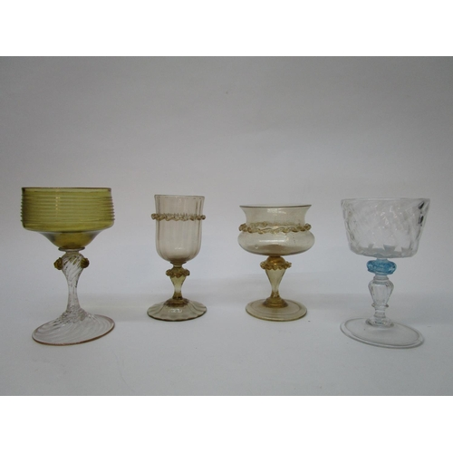 41 - Venetian drinking glasses - to include two with a light brown tint and applied wriggle decoration, o...