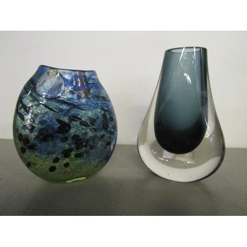 6 - Art glass - Geoffrey Baxter, designed for Whitefriars Glass - a cased hambone vase in indigo, patter...