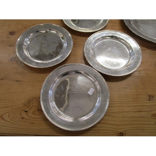 97 - Guild of Handicrafts - Arts and Crafts Britannia standard silver oval serving platter and plate set ...