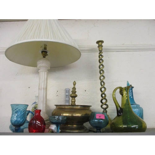 47 - Mixed brassware and a vintage alabaster table lamp, together with a quantity of Mexican glass...