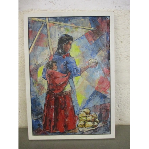 48 - Epifiano Ortlega - a native Mexican mother market shopping with her child, oil on board, signed and ...