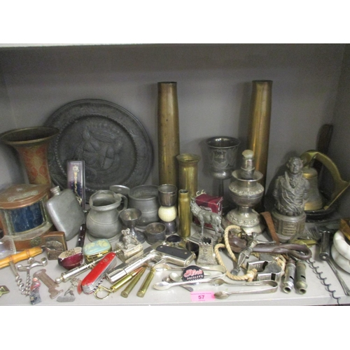 57 - Two vintage Acme Thunder whistles and others, trench art, vintage corkscrews, penknives and novelty ...