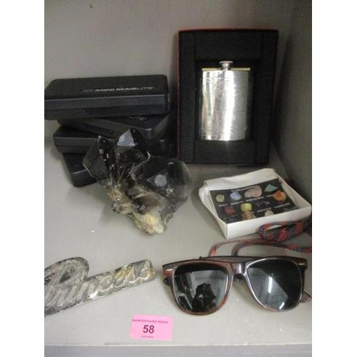 58 - A pair of retro Rayban sunglasses, a classic Austin Princess car badge, a fisherman's pewter hip fla...