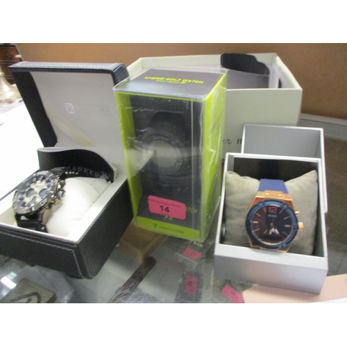 14 - Three gents wristwatches comprising a Hybrid Golf Watch T2, a Guess Connect and a Barkers Turbo Spor...