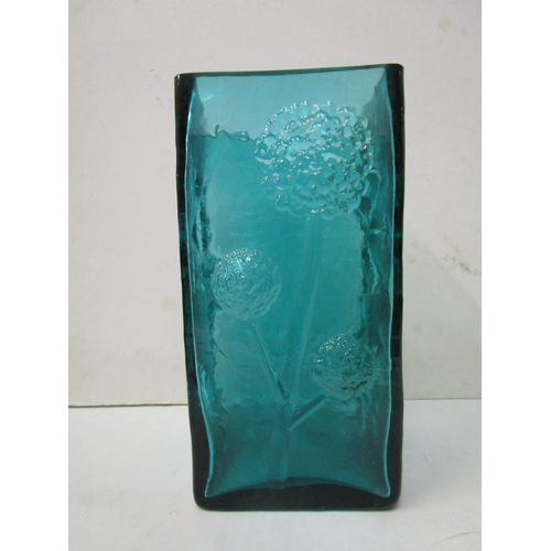 3 - Frank Thrower for Dartington Crystal - a rare large kingfisher blue flower vase of square section, d...