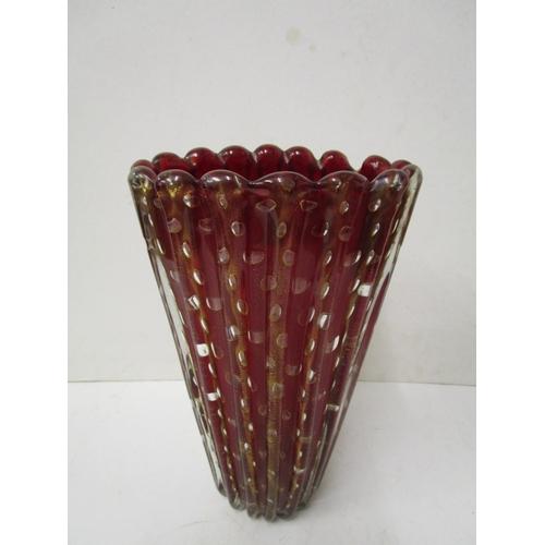 4 - A Cordonato d'Oro red glass vase, circa 1950/60, possibly Ercole Barovier for Barovier & Toso, red g...