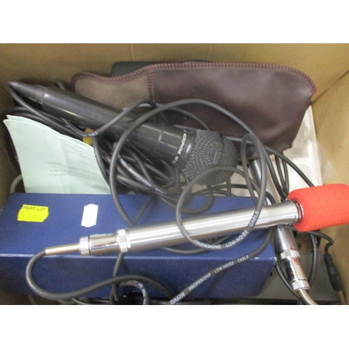 49 - A small selection of electronic recording equipment to include a Ross electronic microphone...
