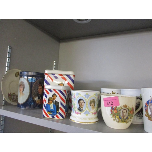 53 - A collection of commemorative china to include a George VI cup with saucer, together with a 1982 Fal...