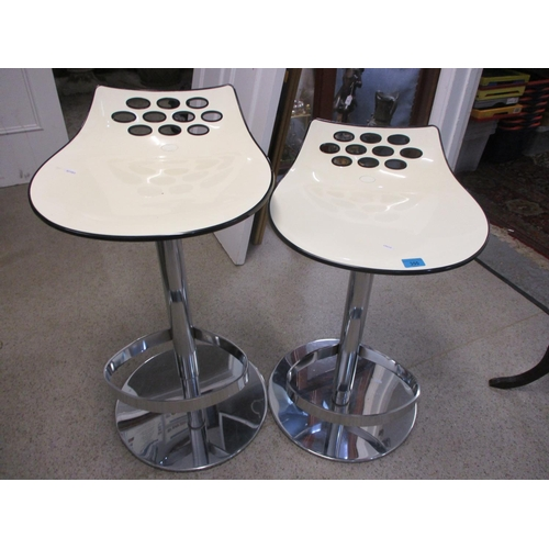 58 - Two modern swivel topped bar stools...