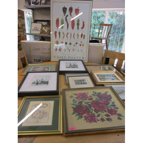 60 - A quantity of mixed prints, watercolours and oils to include a period map of Antigua, together with ...