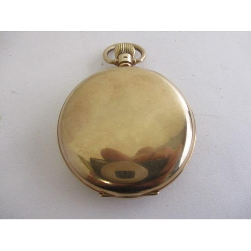 60 - An H Samuel gents 9ct gold cased, open faced pocket watch having Roman numerals, subsidiary seconds,...