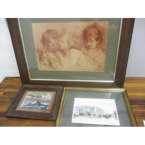 1 - Three pictures to include Robert Driscoll - watercolour entitled Park Corner 1900...