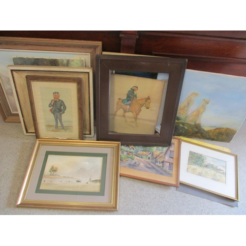 19 - Mixed pictures to include a Vanity Fair print, mixed oils and others...