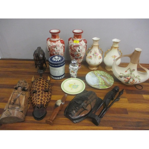 2 - A mixed lot to include Crown Devon vases, a Huntley and Palmer biscuit tin, Japanese vases, a Claric...
