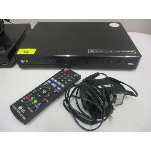 24 - A Lucky Goldstar (LG) BluRay player model BP250 with remote control (region free, will play regions,...