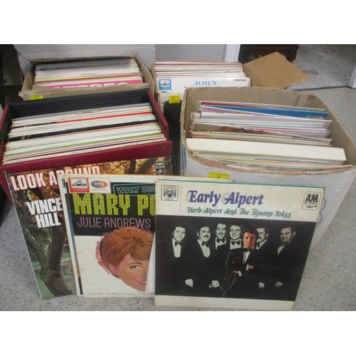 3 - Four boxes of mixed records to include The Very Best of Bing...