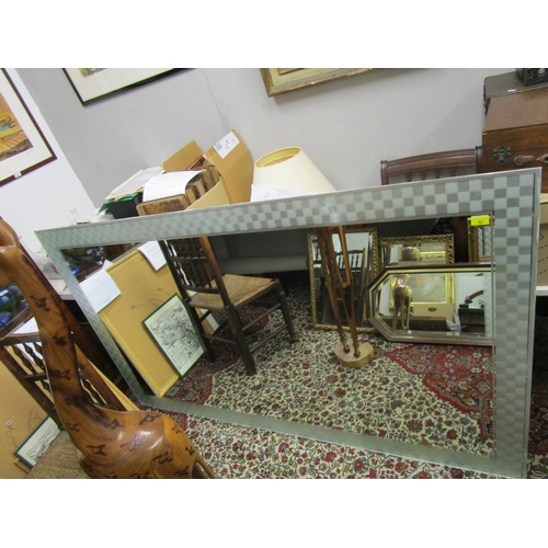 32 - A large bathroom wall mirror with frosted checker-board border, A/F, 43 1/2