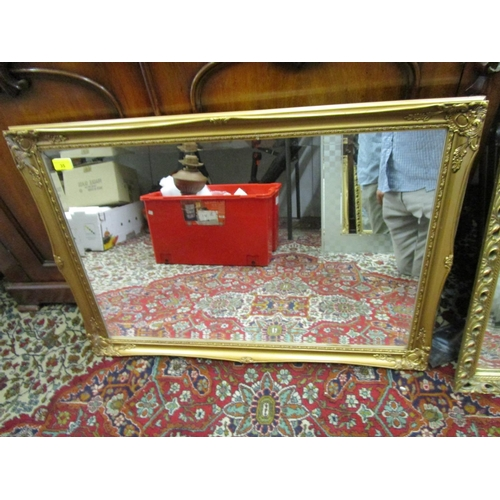 35 - A gilt framed wall mirror of rectangular form with bevelled glass plate, 23 1/2