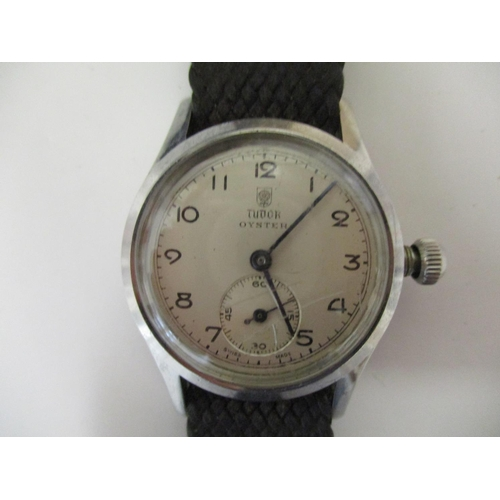 14 - A gents vintage stainless steel cased Tudor Oyster wristwatch by Rolex with a 17 jewelled movement, ...