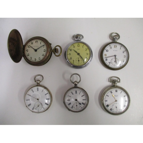 22 - A quantity of six metal cased pocket watches to include a Cyma- Limit and a Smiths Empire...