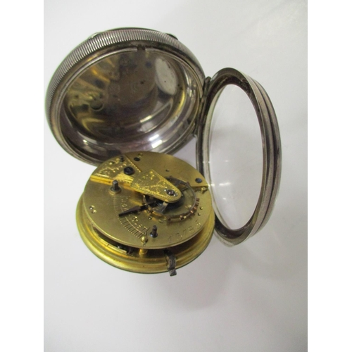 24 - Two silver open faced pocket watches, one improved patent English lever with going barrel and a reve...