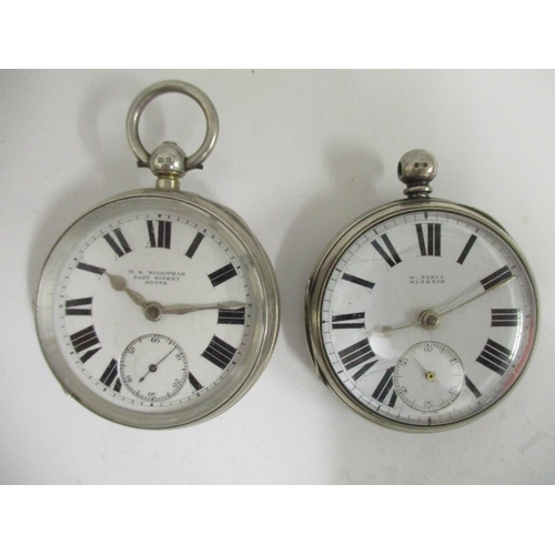 25 - Two silver open faced pocket watches, one late 19th century hallmarked Birmingham, signed W Pybus Wi...