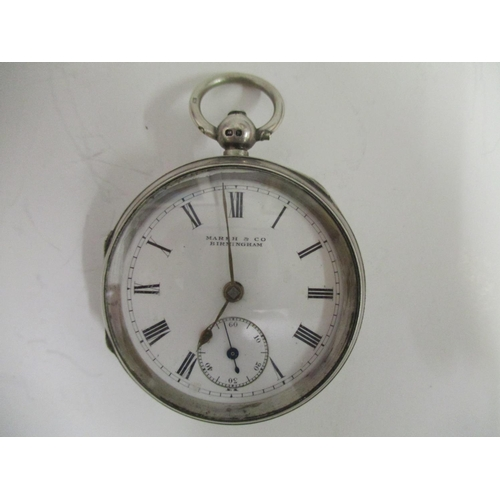 29 - An open faced silver cased pocket watch the dial signed Marsh & Co, Birmingham the cased stamped 297...
