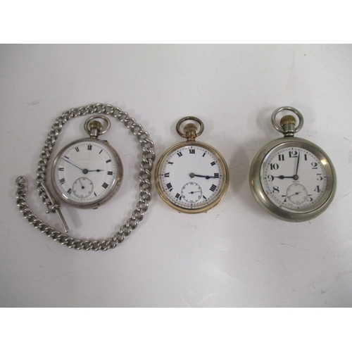 31 - Three pocket watches to include a hallmarked silver Chester 1911, one gold plated 15 jewel Swiss mov...