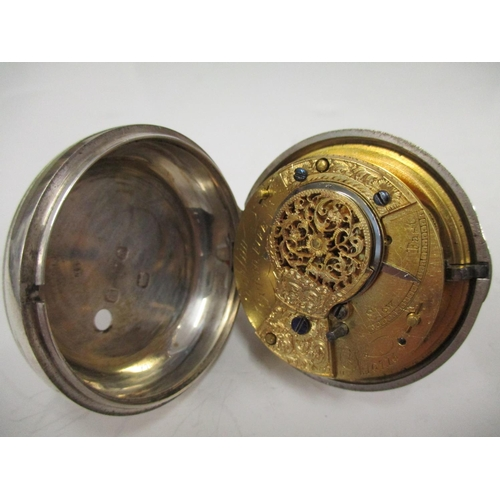 32 - A silver pair cased pocket watch signed Eiklim? Cupar, Fife, hallmarked London 1850, the movement nu...